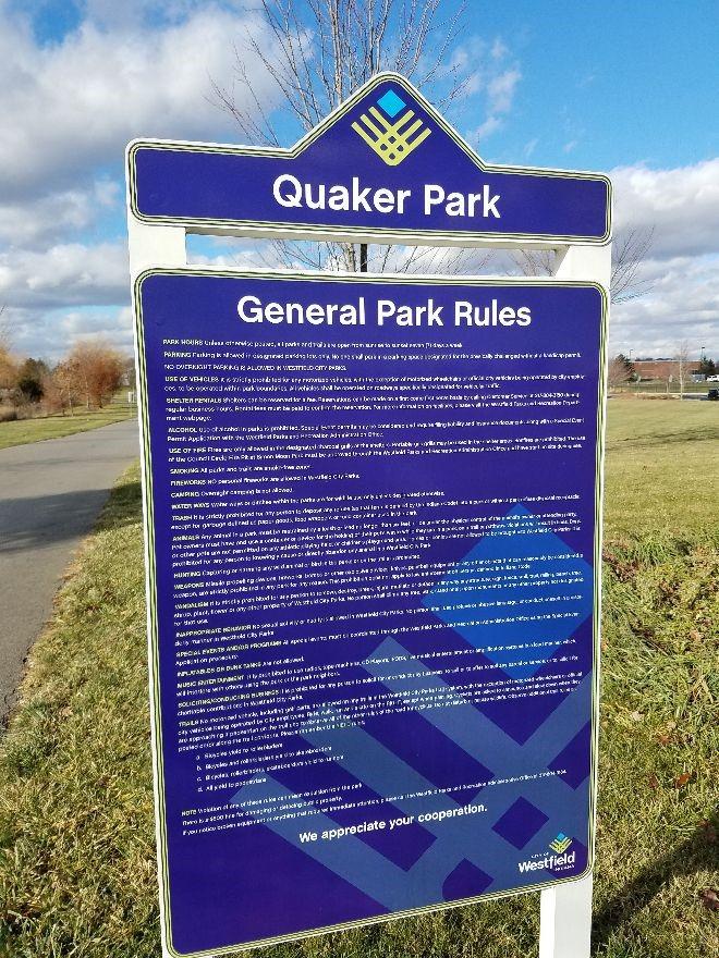 Quaker Park Sign